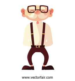 old man with glasses grandfather cartoon character senior