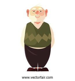old bearded man grandfather cartoon character senior