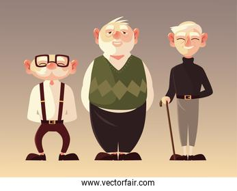 senior people men characters cartoon with glasses and walk stick