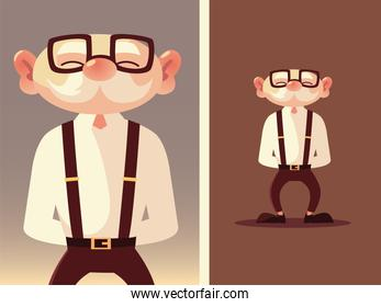 cute old man senior cartoon with glasses and suspenders