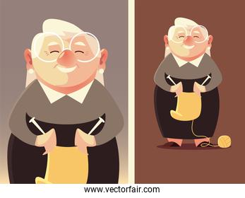 cute granny with wool and knitting needles, senior woman