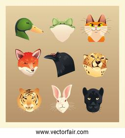 set of different animals heads duck rabbit cat fox rabbit tiger panther and
