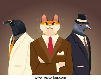 people art animals, cat dove and bird with suit tie and hat accessories vintage clothes