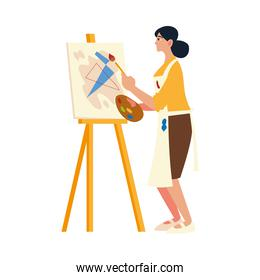woman professional painter stand in front of easel