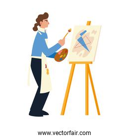 artistic female in apron drawing picture use paintbrush and palette color