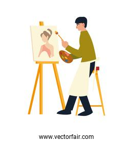 man sitting paints on canvas with oil paints and brush a female model