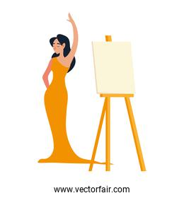 female model in elegant dress with canvas on easel