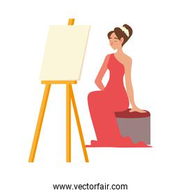 female model sitting in red dress with canvas on easel
