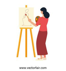 painter woman with palette and brush paints drawing model female