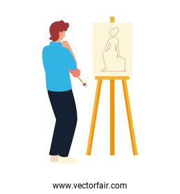 painter man looking canvas with woman model, paint class