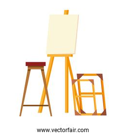 paint class tools canvas easel seat and wood frames