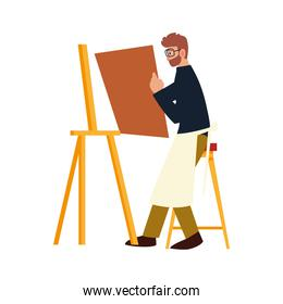 cartoon man painter character holding canvas, sitting next to easel, paint class