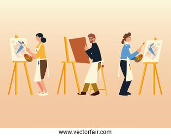 people in paint class with easel canvas brush and paint color