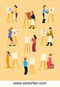 paint class, men and women painting on canvas at easel set