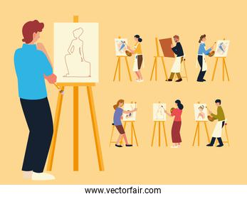 paint class, set of people painting, drawing and making artworks