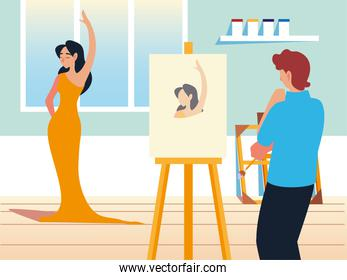 painter man painting with brush on canvas in a studio a model female