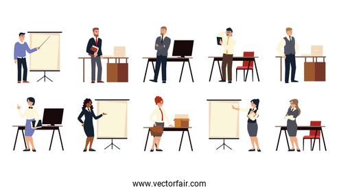 set of business people presentation, agreement, meeting and working