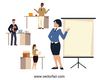 business woman character with board presentatin and people working