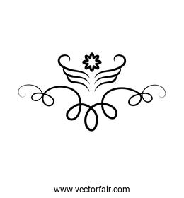 decorative swirl with a flower, line style