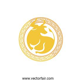 chinese new year card with golden ox seal