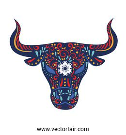 chinese new year card with floral pattern in head ox