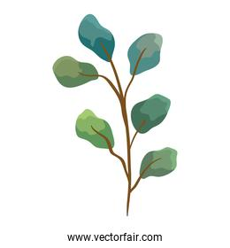 branch with leafs green plant ecology icon