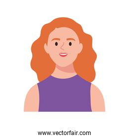 happy young woman avatar with orange hair
