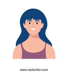 happy young woman avatar character with blue hair