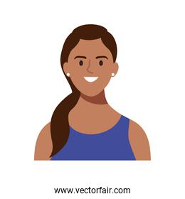 happy young woman brunette avatar character