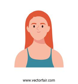 happy young woman with orange hair
