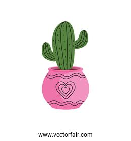 house plant in ceramic pot pink color with heart