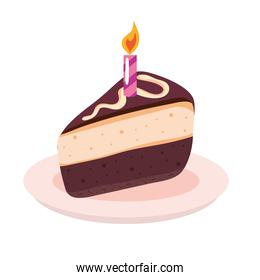 sweet cake portion birthday celebration with one candle