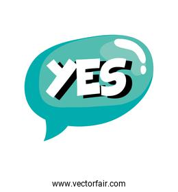 speech bubble with yes word sticker retro style icon