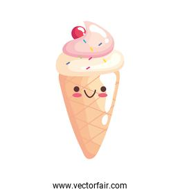 cute ice cream sticker kawaii character icon