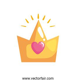 crown with heart sticker retro style icon