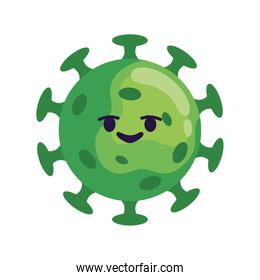 covid19 particle comic character green icon