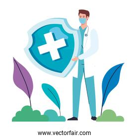 doctor wearing medical mask with shield character