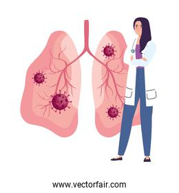 female doctor with covid19 virus particles in lungs