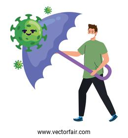 man wearing medical mask with covid19 particles comic characters and umbrella