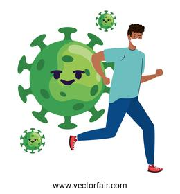 man wearing medical mask running with covid19 particles comic characters