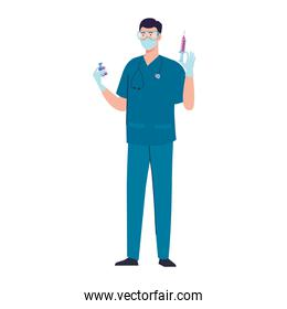 doctor with injection vaccine and vial character