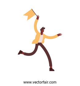 Businessman running with flag vector design