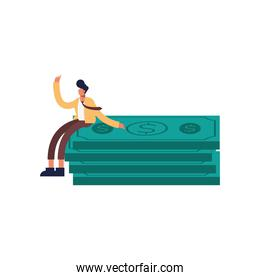 Man cartoon on bills vector design