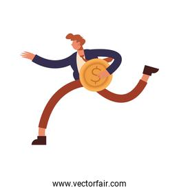 Businessman cartoon with coin running vector design