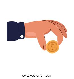 Hand holding coin vector design