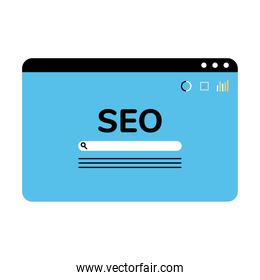 Seo website with search button vector design
