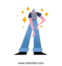 woman cartoon with jeans and striped tshirt vector design