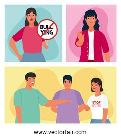 group of persons affected for bullying with stop signal characters