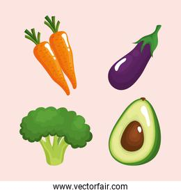 bundle of four vegetables healthy food icons