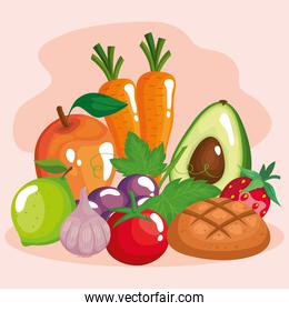 vegetables with fruits and healthy food set icons